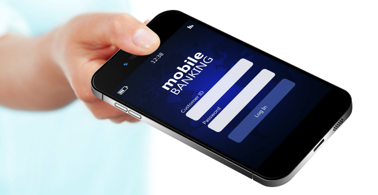 Mobile banking app on a smartphone