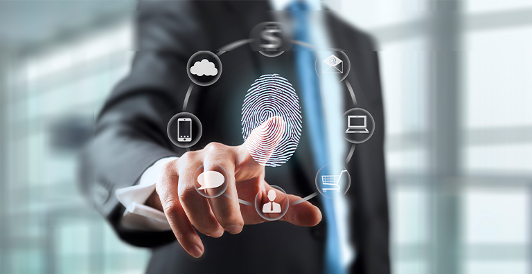 businessman using fingerprint for access control